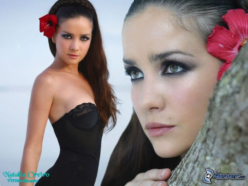 Natalia Oreiro, black dress, flower in hair