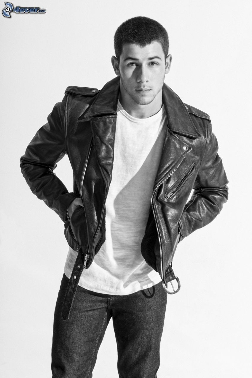 Nick Jonas, black and white photo