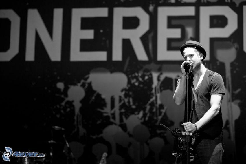 OneRepublic, singer, black and white photo