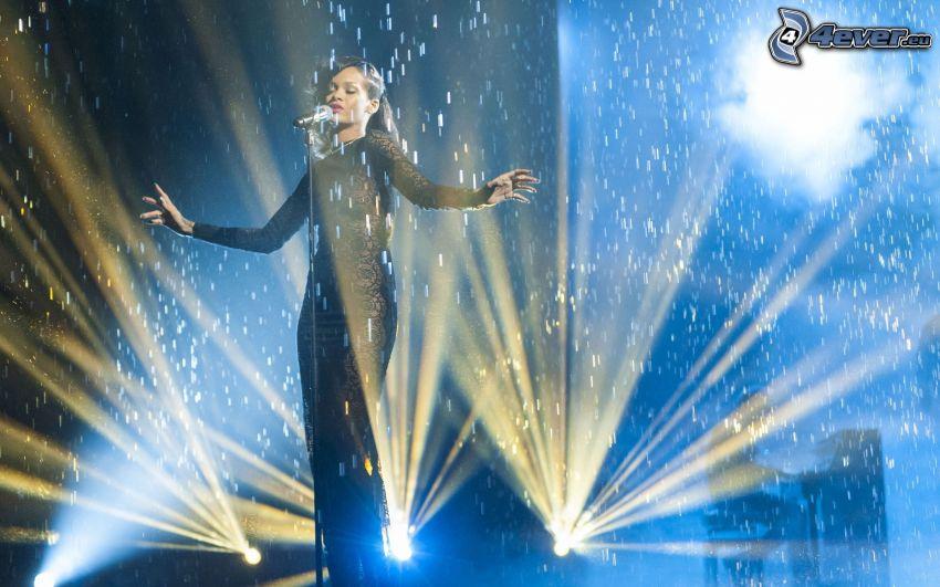 Rihanna, singing, lights