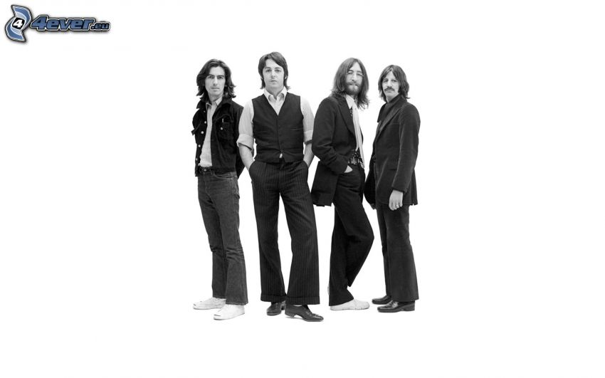 The Beatles, black and white photo