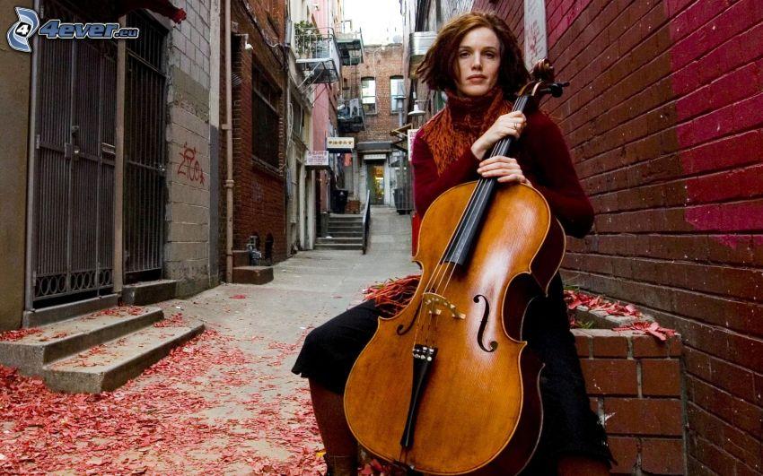 Zoë Keating, girl playing the cello, street