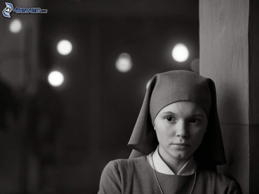 nun, black and white photo