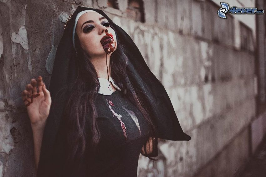 nun, blood, wall