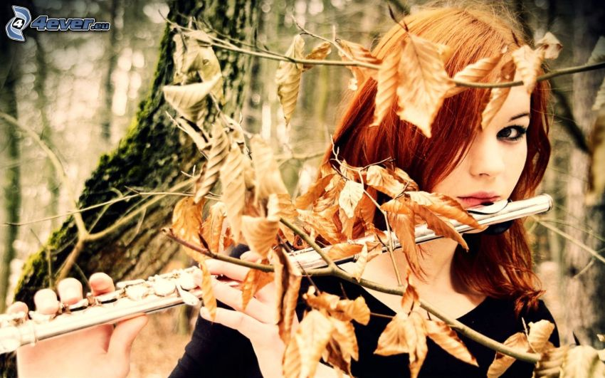 play the flute, redhead, dry leaves