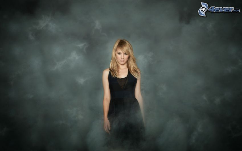 Sarah Hart, blonde, black dress, smoke