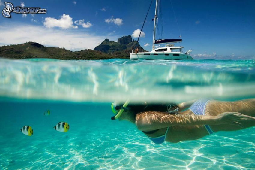 scuba diver, yacht, azure sea, colorful fish, tropical island, swimming underwater
