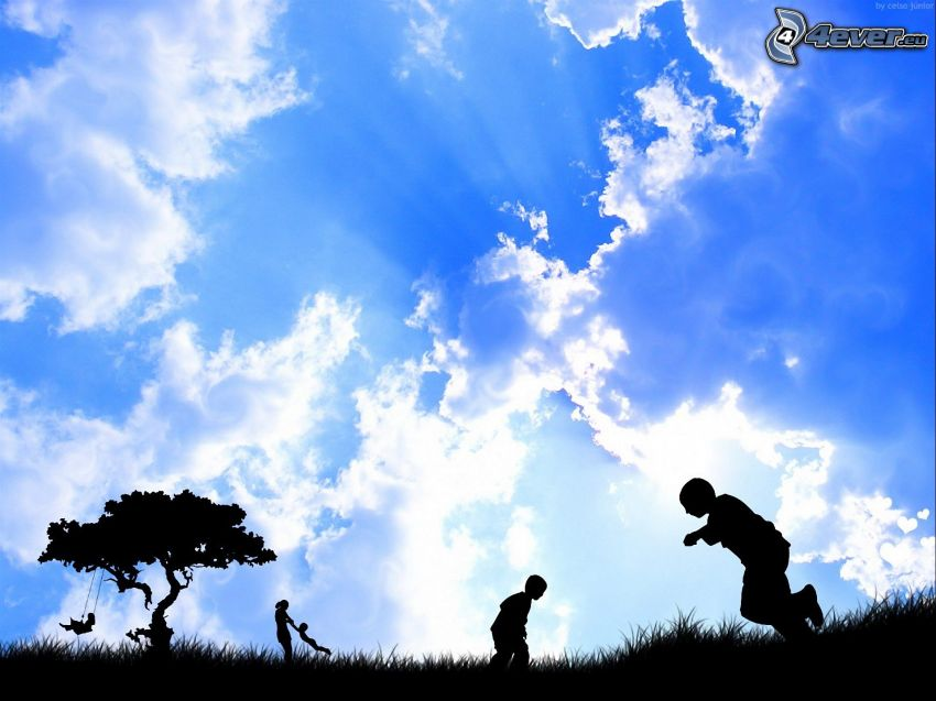 silhouettes of children, silhouette of tree, sky