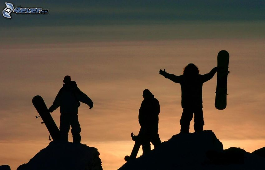 snowboarders, silhouette