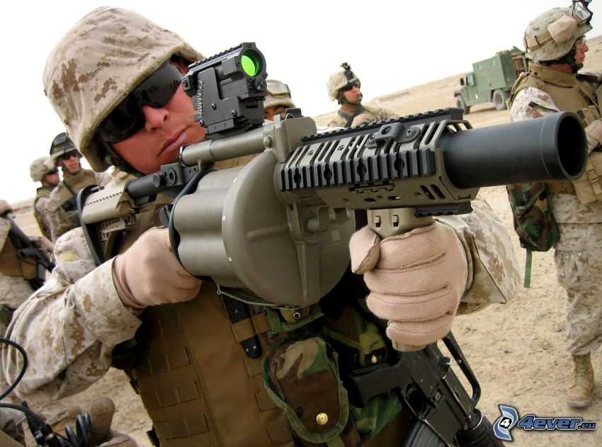 soldier with a gun, M32 Grenade Launcher, shooting