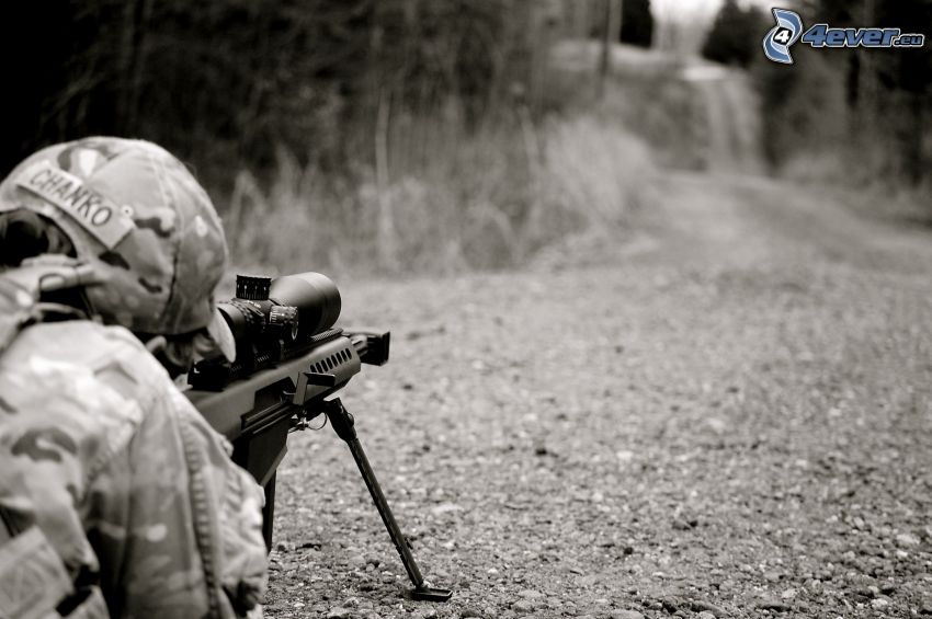 soldier with a gun, sniper, shooting