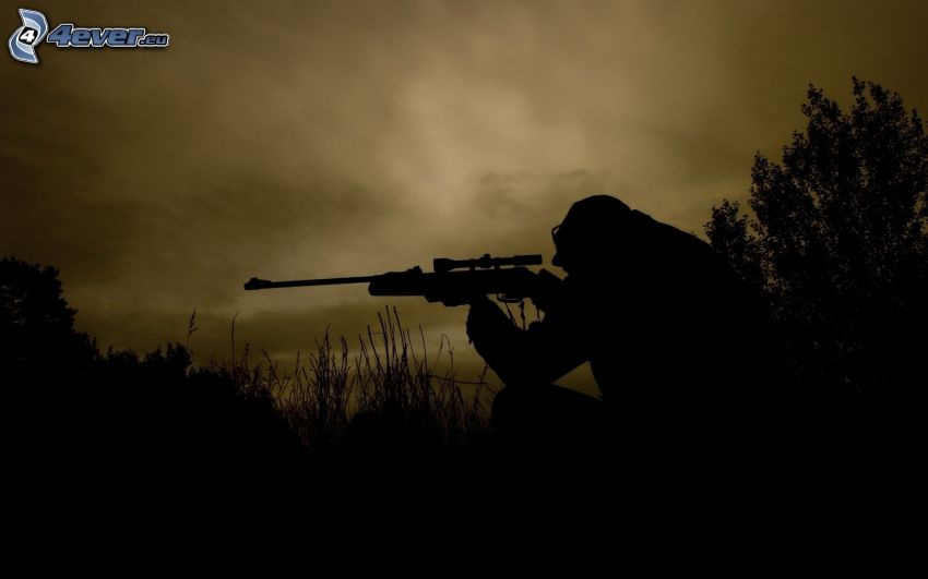 soldier with a gun, sniper, silhouette