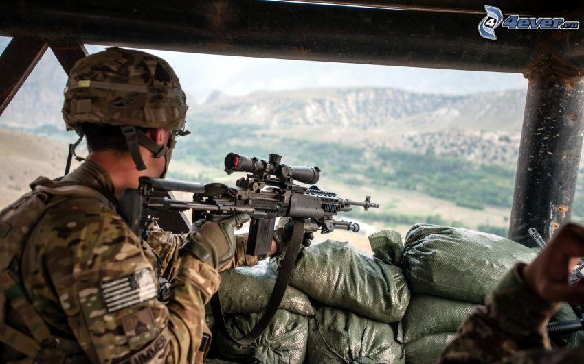 soldier with a gun, sniper