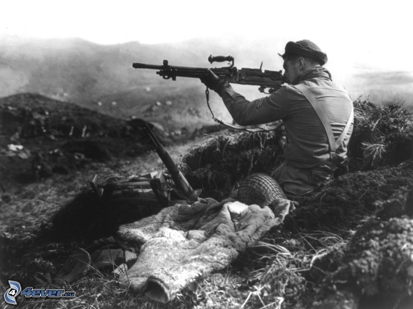 soldier with a gun, war, old photographs, shooting