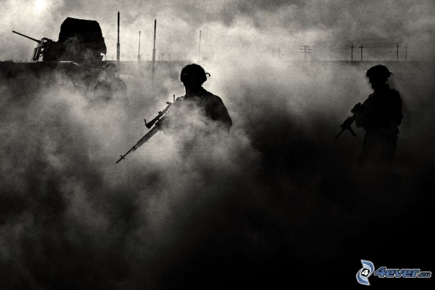 soldiers, silhouettes of people, dust