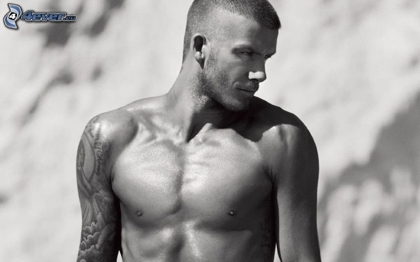 David Beckham, black and white photo