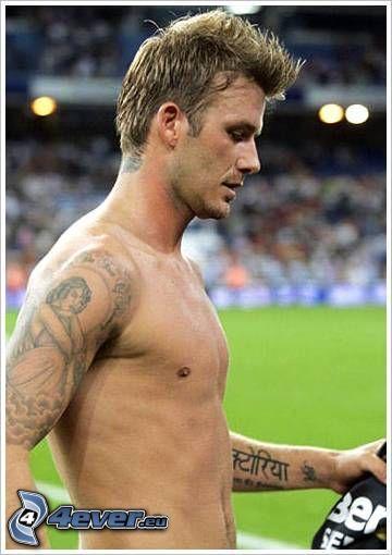 David Beckham, footballer, topless, tattoo on the hand