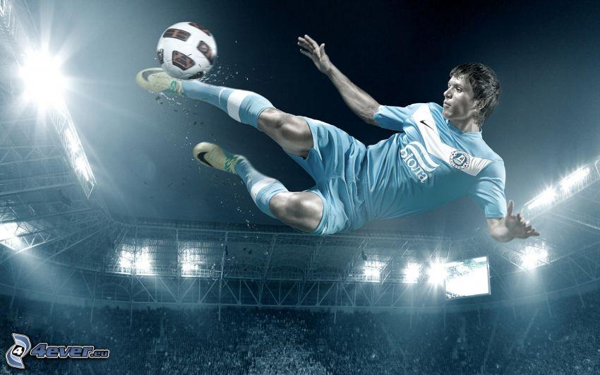 footballer, jump, soccer ball