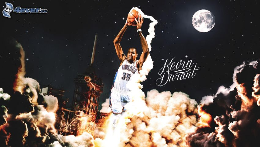 Kevin Durant, basketball player, ball, moon, smoke