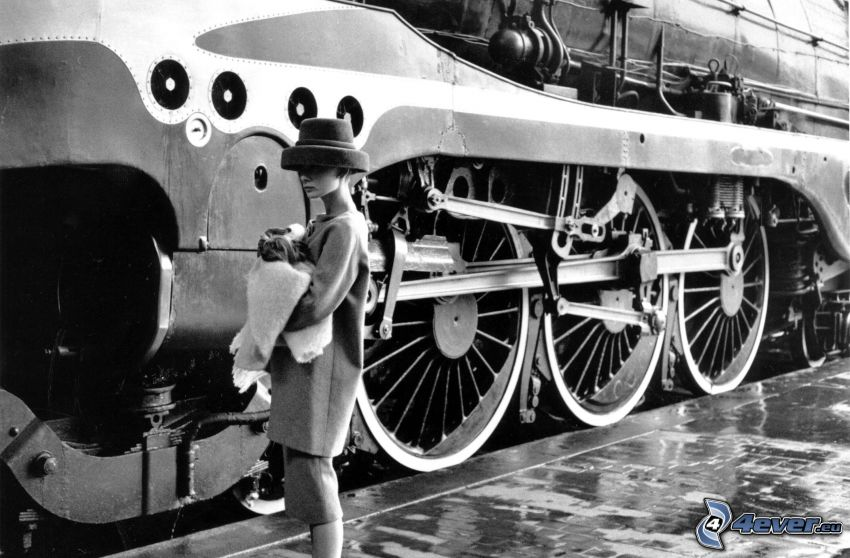 steam train, woman, black and white photo
