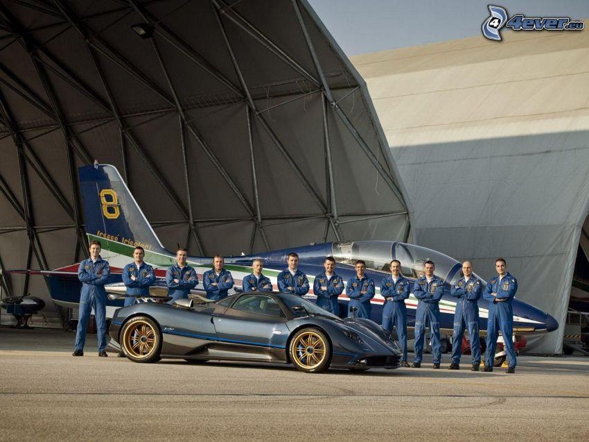 team, Pagani Zonda, Aermacchi MB-339, blue
