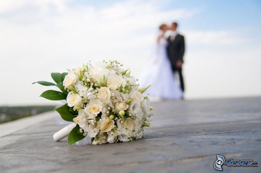 wedding bouquet, white roses, couple, wedding