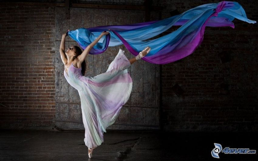 woman, ballet, fabric, white dress
