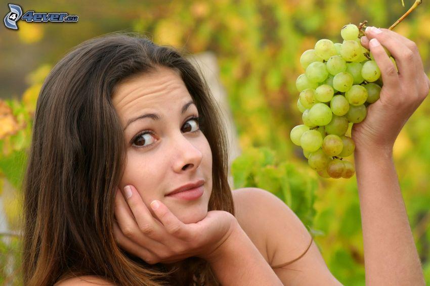 woman, brunette, grapes