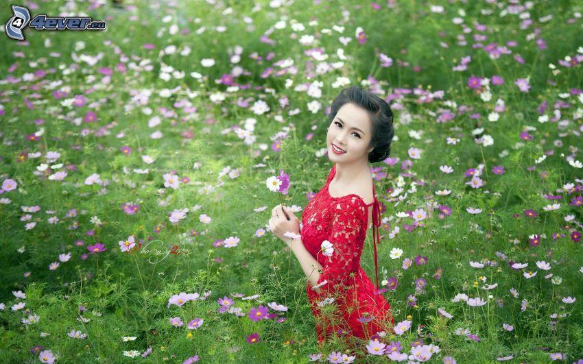 woman, red dress, summer meadow, flowers