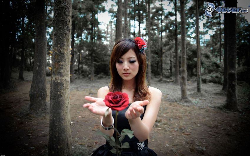 woman in forest, girl with flower, red rose