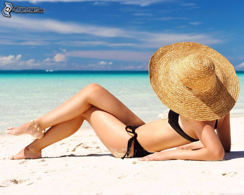 woman on the beach, hat, open sea, sunbathing