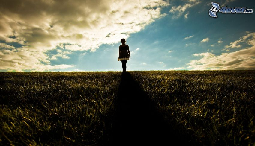 woman silhouette, meadow, clouds