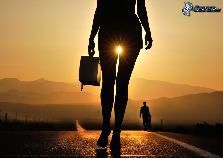 woman silhouette, sun