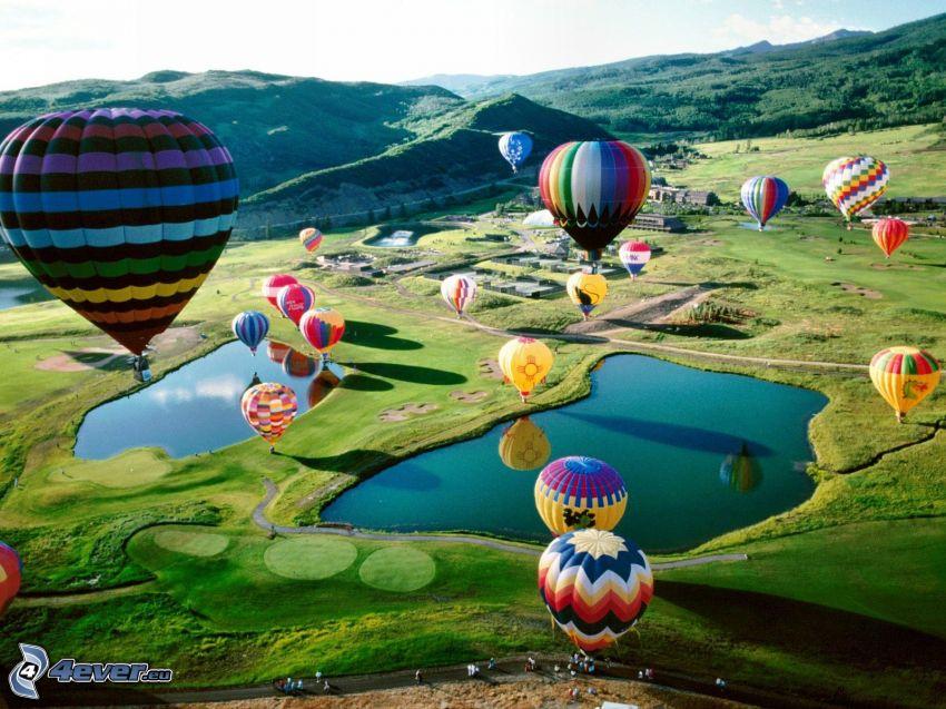 balloons, landscape, lakes