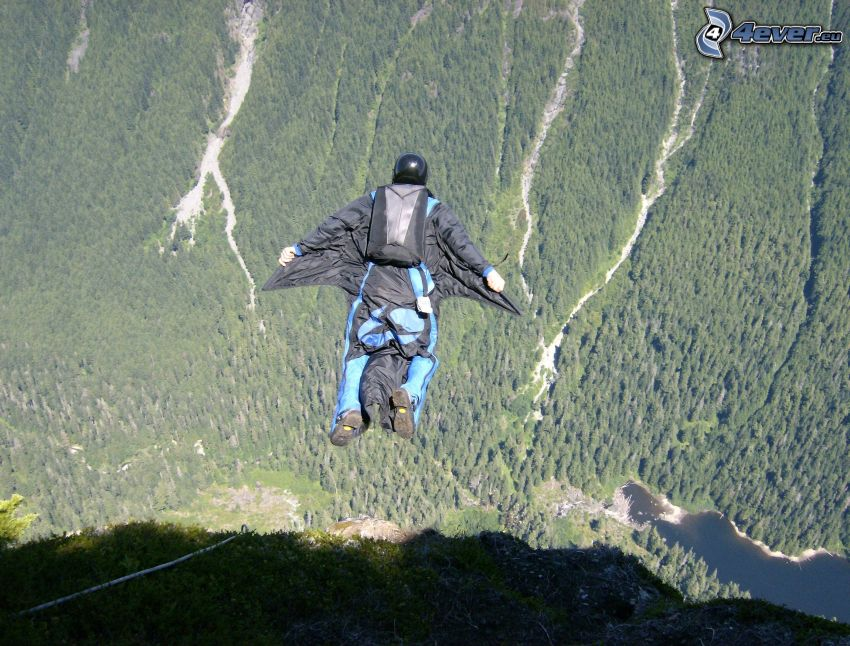 BASE Jump, forest, mountain