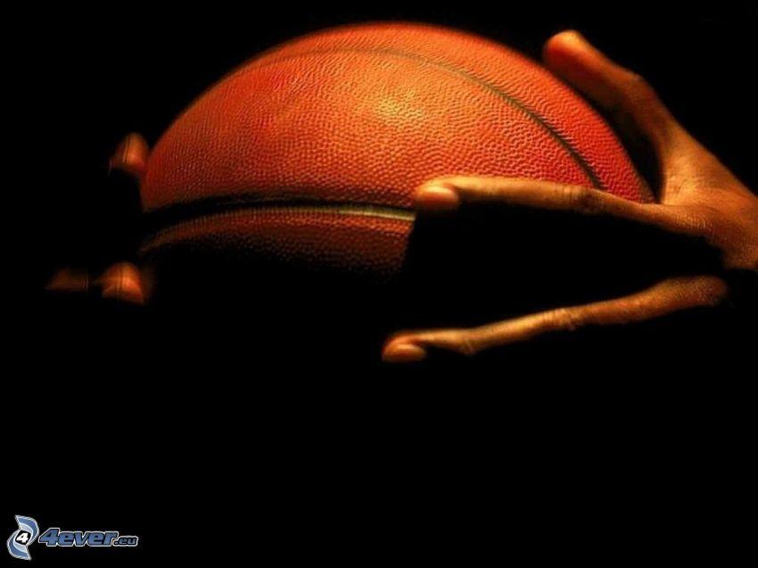 basketball ball, hands