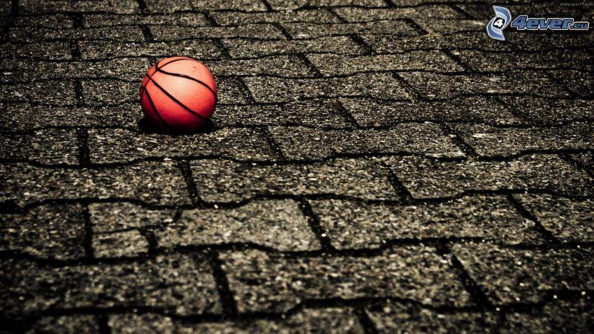 basketball ball, sidewalk