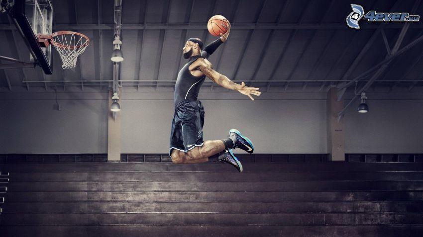 basketball player, basketball, basket