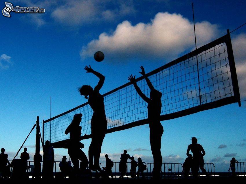 beach volleyball, silhouette