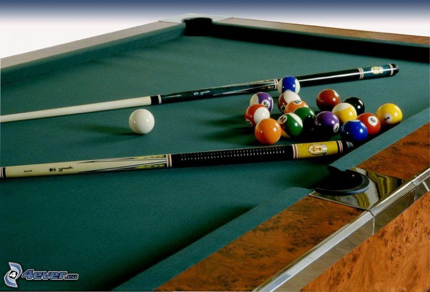 billiard, billiard balls, cue stick