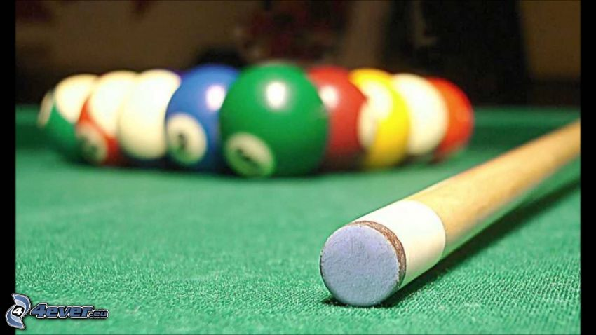 billiard balls, cue stick