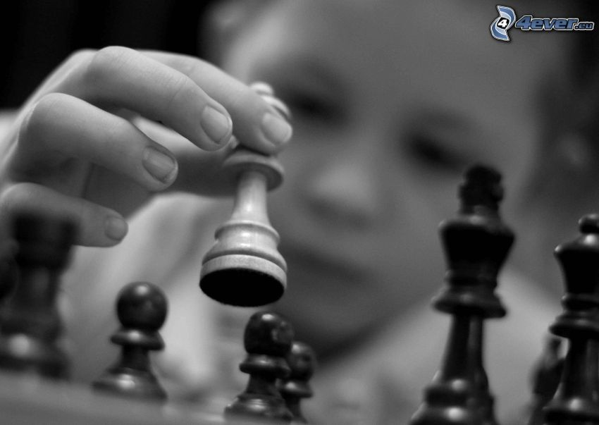 Chess, black and white photo