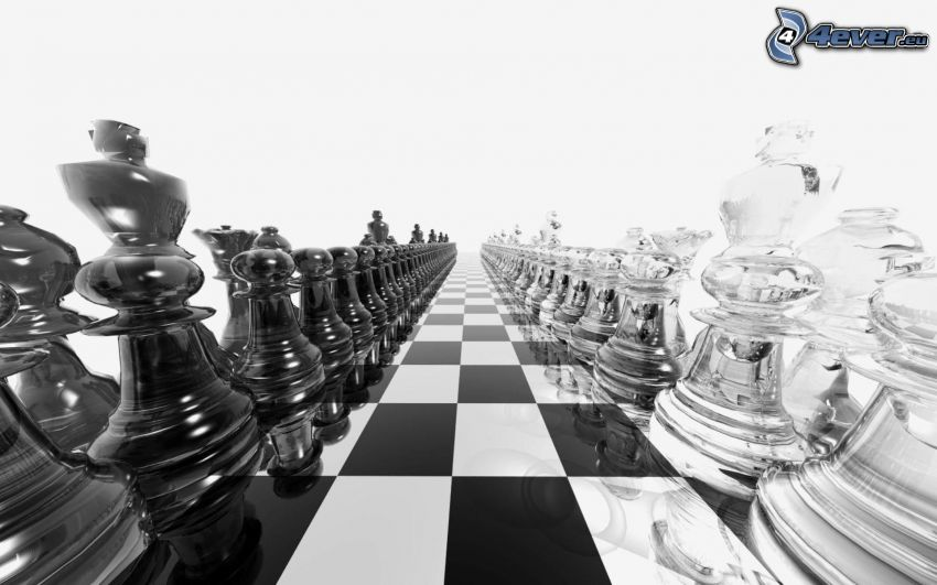 Chess, chess pieces, black and white