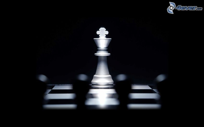 chess pieces, black and white photo, king