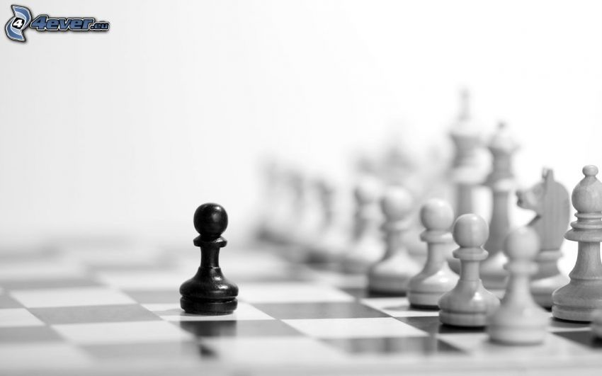 chess pieces, black and white photo
