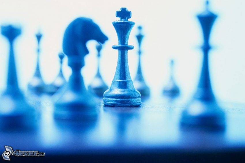chess pieces, blue