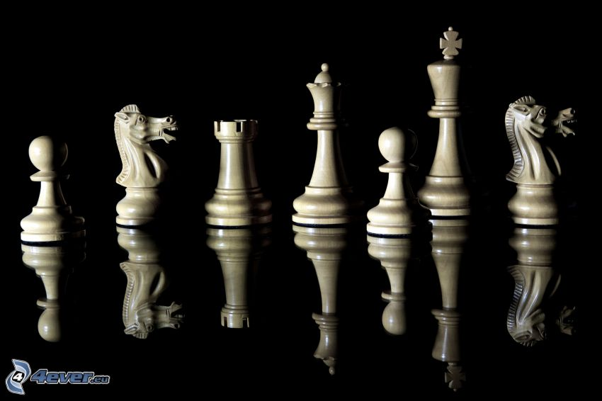 chess pieces, reflection