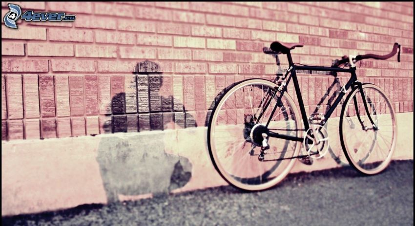 bicycle, shadow, silhouette of a man, brick wall