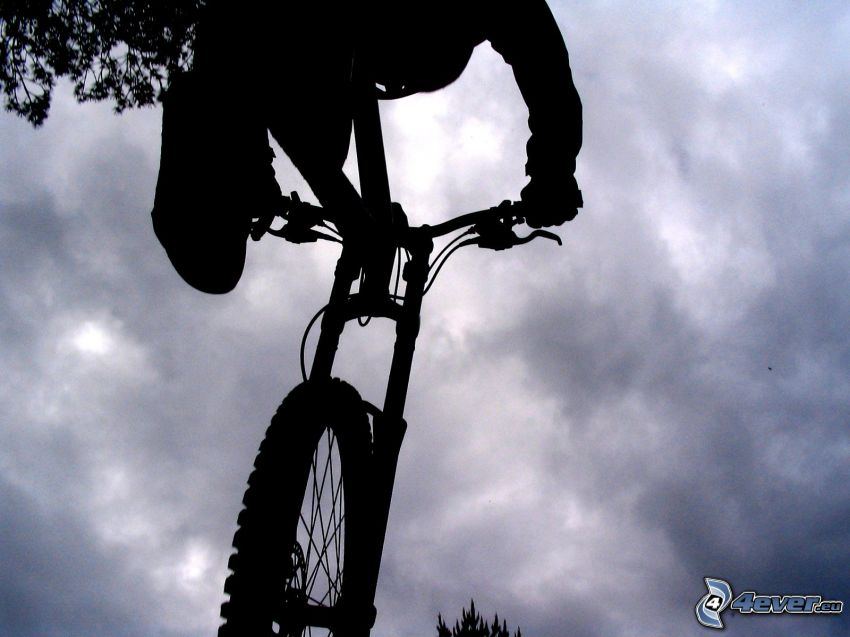 bicycle, silhouette, jump