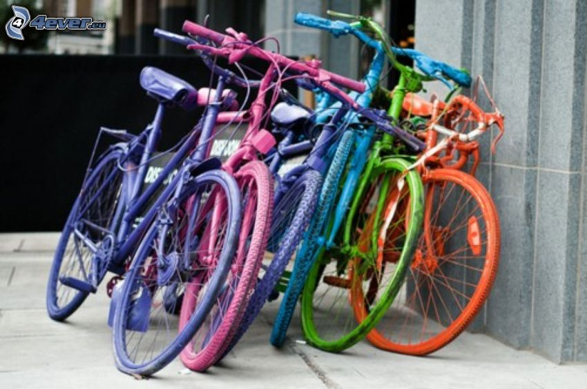 bicycles, colored
